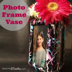 Paint Splattered Photo Frame Vase - such a cute centerpiece for a birthday party or decoration for a tween's room!