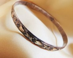 Vintgage Danecraft sterling silver bangle bracelet hearts and flowers