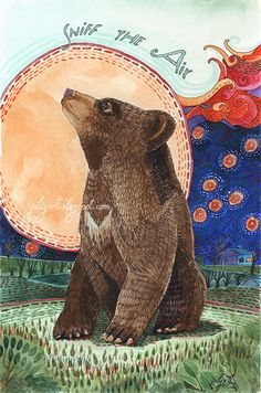 Bear cub print animal illustration nursery decor wall art