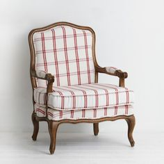 French Red White Check Armchair A Classic French Design From The Loui