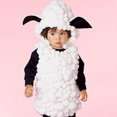 Homemade Little Lamb Costume diy costumes, halloween stuff, kid halloween costumes, costume ideas, diy halloween costumes, sheep, lamb, costume halloween, homemade halloween costumes