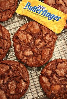 Butterfinger Brownie Cookies @RecipeGirl {recipegirl.com} {recipegirl.com} {recipegirl.com}