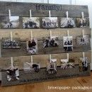 family pictures, brown paper packages, photo displays, wooden pallets, picture displays