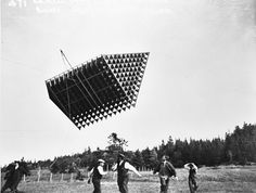 Frost King Tetrahedral Kite by Alexander Graham Bell via theatlantic via oobject via gardenofpraise: Made of silk and wood, when this kite accidentally hoisted someone into the air it inspired Bell to develop tetrahedral flying machines. #Kite #Alexander_Graham_Bell