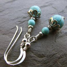 Turquoise sterling silver earrings  by Sarah Joanne Jewellery