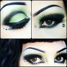 Black and Green gothic makeup