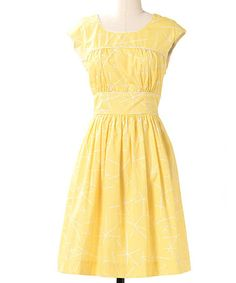 Take a look at this Lemon Fine Focus Cap-Sleeve Dress by Down East Basics on #zulily today!