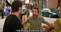 It's always sunny in Philadelphia Charlie eats stickers