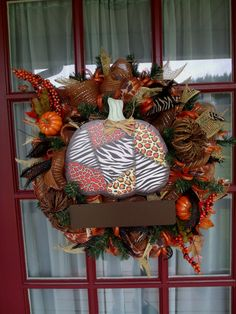 Fall Deco mesh wreath made with Brown, orange and yellow. Personalize it. on Etsy, $89.00