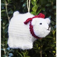 Polar Bear Knit Ornament - free pattern