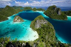 Beaches and islands seen from above, Raja Ampat, Indonesia