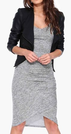 Grey Sweater Dress paired with a jacket