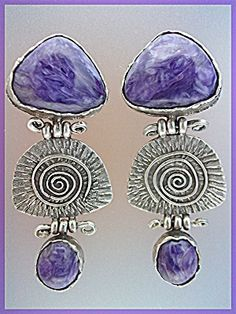 Earrings Russian Charoite Sterling Silver Clips By GUND (Image1)