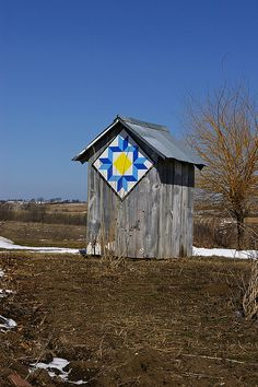 If you don't have a barn..put your quilt on a outhouse..Guthrie Center, Iowa order your barn quilt today custombarnquilts@gmail.com