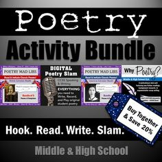 Bundle of fun poetry activities to ease middle & high school students into classic poems, poetry slams, & why poetry matters!