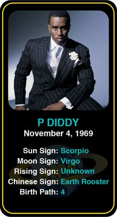 Celeb #Scorpio birthdays: P Diddy's astrology info! Sign up here to see more: https://www.astroconnects.com/galleries/celeb-birthday-gallery/scorpio?start=60  #astrology #horoscope #zodiac #birthchart #pdiddy #diddy #seancombs