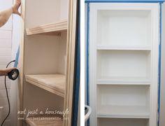 decor, bathroom shelving, diy closet, closets, bathrooms, bathroom inspir, bathroom idea, closet shelv, bathroom shelves