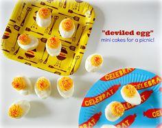 Mini cakes that look like deviled eggs