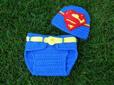 SuperBaby Beanie and Diaper Cover Set by GetTheeToAYarnery on Etsy,