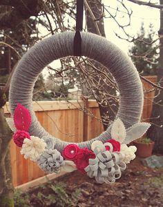 Yarn Wrapped Wreath with Dimensional Felt Flowers by CatshyCrafts, $50.00