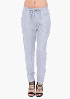 Quilted Jogger Pants in Grey