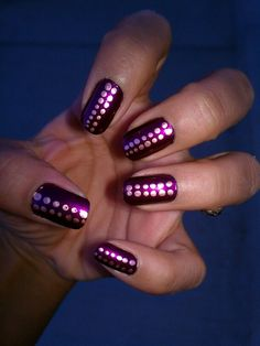 Plum nails with copper polka dots for Fall. <3