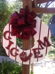 Texas A & M Wreath Aggies Gig Em Makes A by WildeWoodTreasures, $45.00