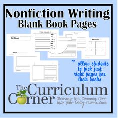 Nonfiction Writing Blank Book Pages - WOW!  19 different pages for your nonfiction books in writing workshop.  This will make it easy for my kids to have pages that are perfect for them!  Free from The Curriculum Corner.