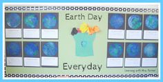 This cute Earth Day Bulletin Board is made from Earth Day coffee filter art, a Pledge to the Earth writing printable, and reused materials found in the classroom. Get the instructions and writing freebie here: http://littlemisshypothesis.blogspot.com/2012/04/earth-day-with-mrs-parker.html