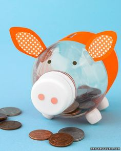 piggy bank - craft paper and a water bottle