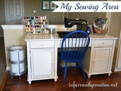Want to design the perfect sewing area that works for YOU? Here's how I created my sewing area, including repainting a Craigslist desk and a chandelier-turned trash can.