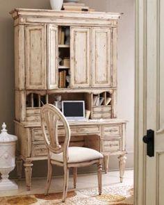 Antique-White Desk, Hutch & Chair - Horchow