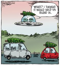 Blending in with the holiday spirit. Speed Bump on GoComics.com #Humor #Aliens #Comics #Christmas