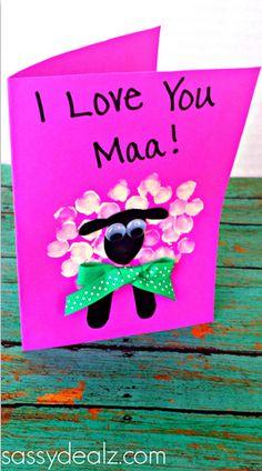 Fingerprint Sheep Mother's Day Card Idea #Gift Idea for kids to make!  #preschool #mothersday