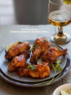 Honeyed Sriracha Chicken Wings from foodiecrush.com