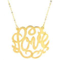 LOVE necklace / monogram celebr, celebrity style, celebr style, necklac bracelet, closet, necklaces, color monogram, jewelri, bracelet gold