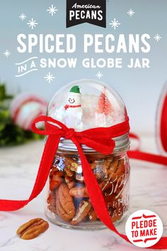 The only gift better than spiced pecans? Spiced pecans in a snow globe jar. Pledge to make this Original Supernut holiday DIY.