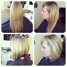Before/after highlight refresh and a new angled bob! Sara Pecora / Clippi Headren Salon / Rva / 804.308.0450