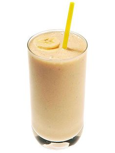 Peanut Butter & Banana Smoothie Blend a banana, 1 tbsp of peanut butter, 10 oz of milk and 6 ice cubes for a healthy breakfast you can easily take with you!