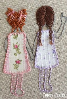 Embroidered girls with floral fabric dresses.