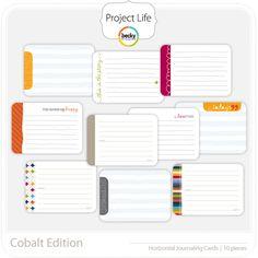 Project Life - Cobalt (horizontal) - Journaling Cards; digital
