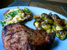 Grilled Sirloin with Pressed Potatoes and Roasted Brussels Sprouts