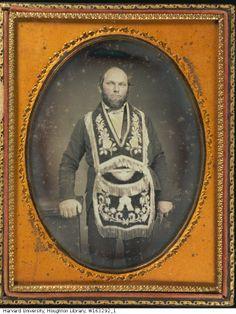 (c.1840s-50s) Man wearing fraternal regalia.