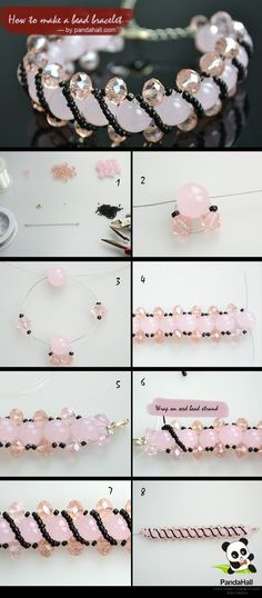 Pretty bead bracelet :: Simple process with results that look complicated. Detailed written instructions at this link ~ http://www.pandahall.com/learning-center/article-Bracelet-making-instructions-on-how-to-make-a-bead-bracelet-more-outstanding-1.html #handmade #jewelry #beading