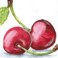 Tutorial: Coloring realistic cherries with Copic markers, by Anat Ronen. #CherryArt #Tutorial