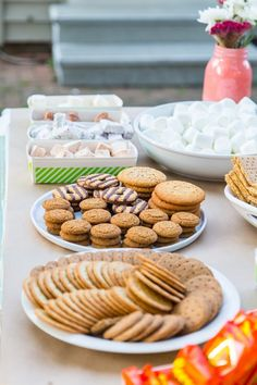 A Backyard S'mores Party: not just graham crackers but various cookies, spreads (peanut butter, lemon curd, dulce de leche), different types of chocolate, etc.