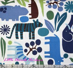Alexander Henry 2D zoo in blue! ! LOVE THIS FABRIC :)