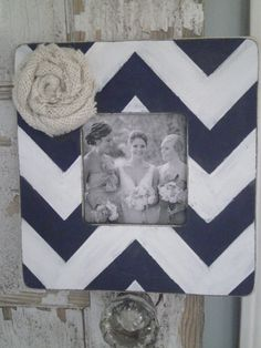 Love this! Chevron frame with burlap flower