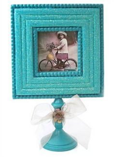 Create this DIY Vintage Aquamarine Frame to hold all your precious photos! | shop supplies @joannstores