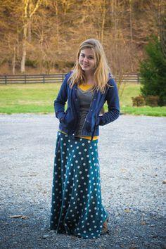 Fresh Modesty outfits, woman fashion, polka dots, cloth, style, long skirts, tornados, fresh modesti, maxi skirts